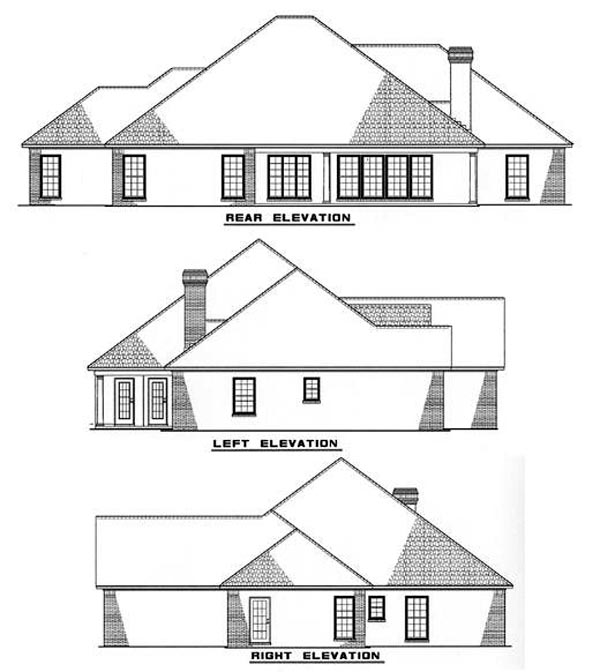 European Traditional House Plan 62003 Rear Elevation