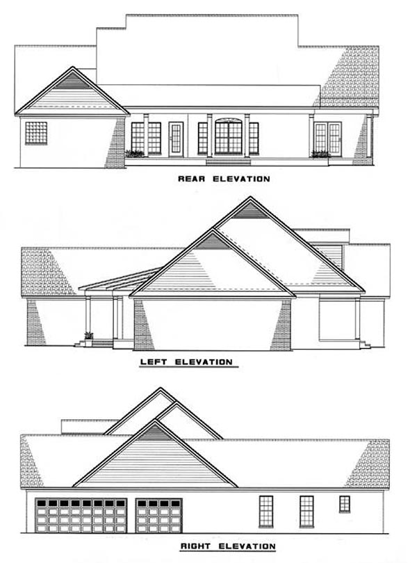 Rear Elevation of Country   Southern   House Plan 62006