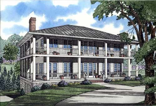 Colonial Style House Plan Number 62012 with 3 Bed, 5 Bath, 2 Car Garage