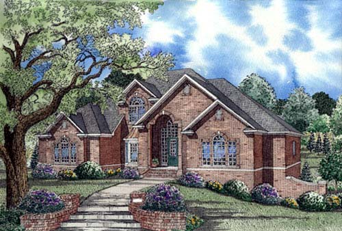 European House Plan 62019 Elevation