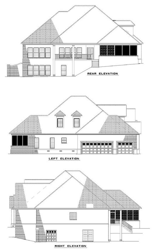 European House Plan 62019 Rear Elevation