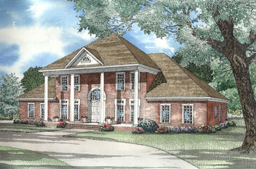 Elevation of Colonial   Plantation   Southern   House Plan 62020