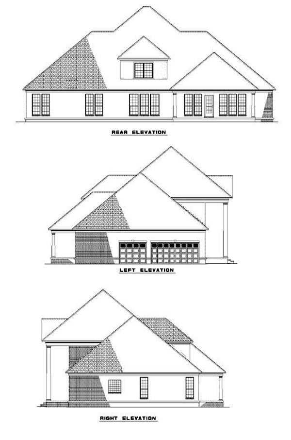 Colonial, Plantation, Southern House Plan 62020 with 5 Beds, 4 Baths Rear Elevation