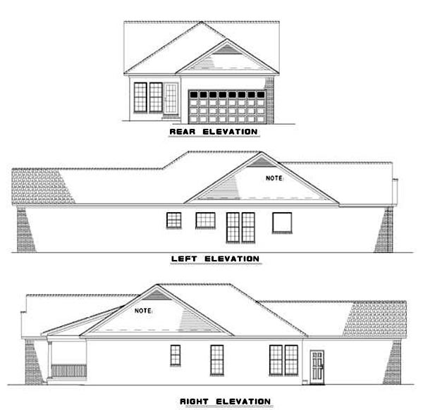 Colonial Country Southern House Plan 62027 Rear Elevation
