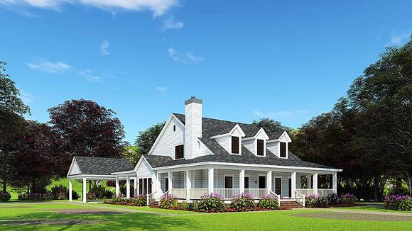 Country, Farmhouse, Southern House Plan 62032 with 4 Beds, 3 Baths, 2 Car Garage Elevation