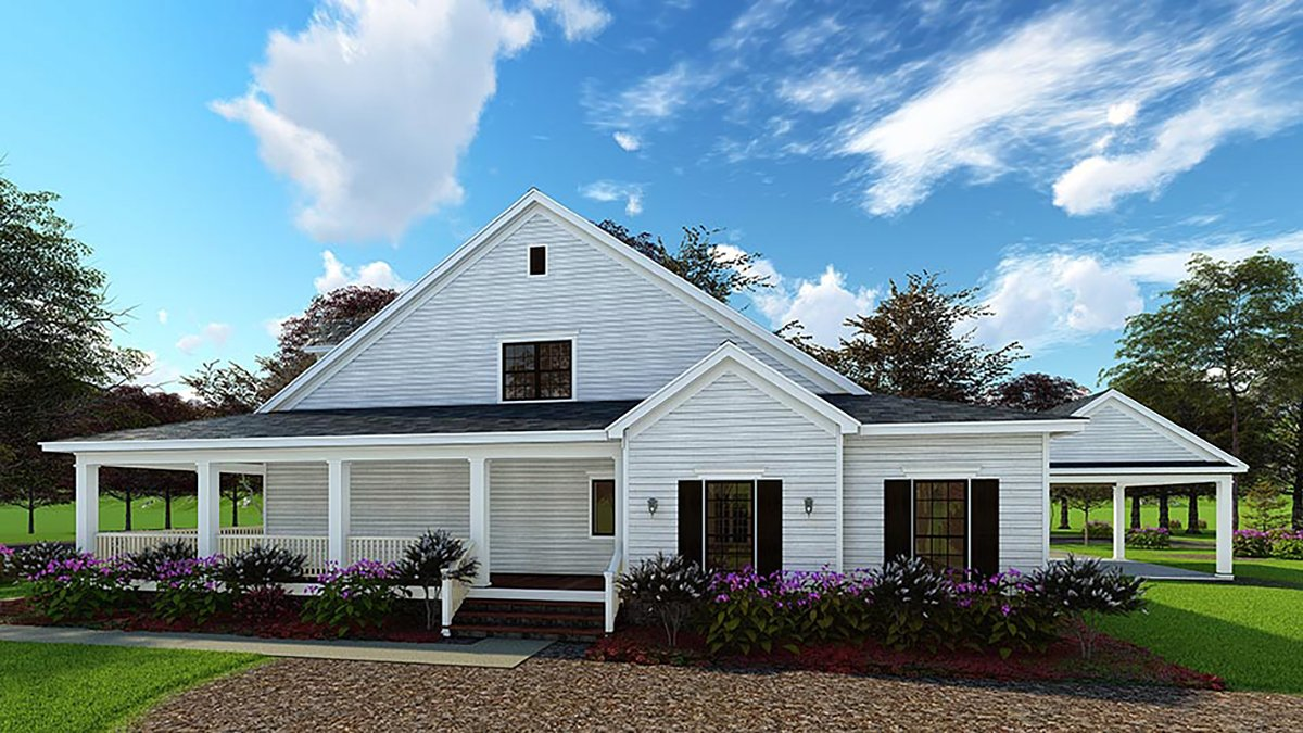 Country Farmhouse Southern House Plan 62032 Rear Elevation