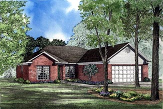 One-Story, Traditional House Plan 62034 with 3 Beds, 2 Baths, 2 Car Garage Elevation