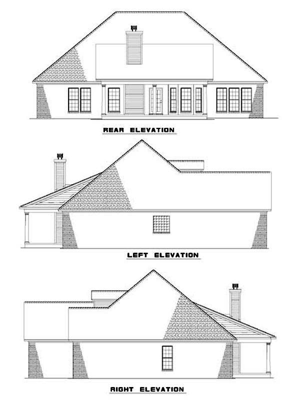 Traditional House Plan 62037 Rear Elevation