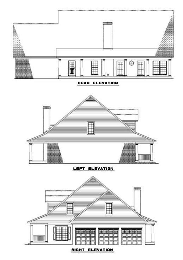 Country House Plan 62044 with 4 Beds, 4 Baths, 3 Car Garage Rear Elevation