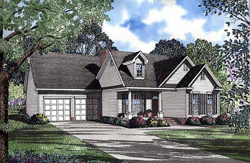 Country, Traditional House Plan 62047 with 3 Beds, 2 Baths, 2 Car Garage Elevation