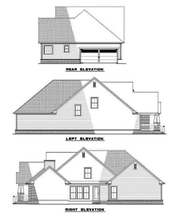 Country, Craftsman, Traditional House Plan 62083 with 3 Beds, 3 Baths, 2 Car Garage Rear Elevation