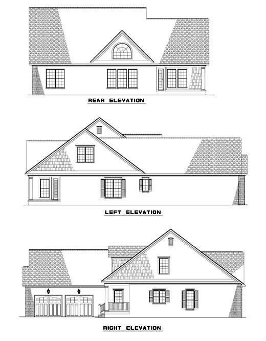 Cape Cod, Country House Plan 62087 with 3 Beds, 3 Baths, 2 Car Garage Rear Elevation