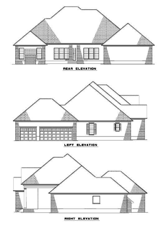 European Southern House Plan 62090 Rear Elevation