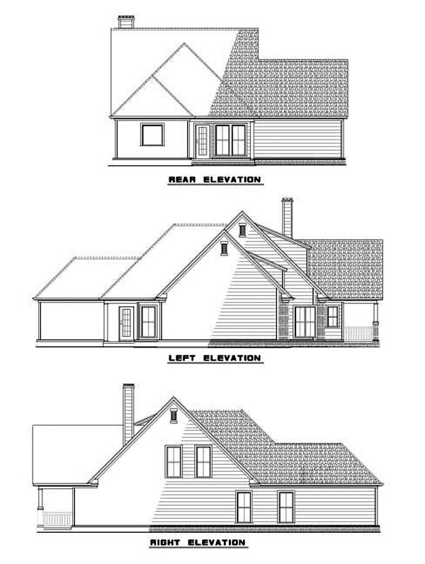 Bungalow Country Tudor House Plan 62093 Rear Elevation