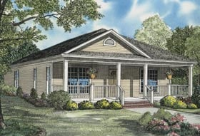 Country, Southern, Traditional House Plan 62095 with 3 Beds, 3 Baths, 2 Car Garage Elevation