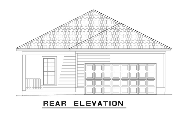 Country Southern House Plan 62096 Rear Elevation