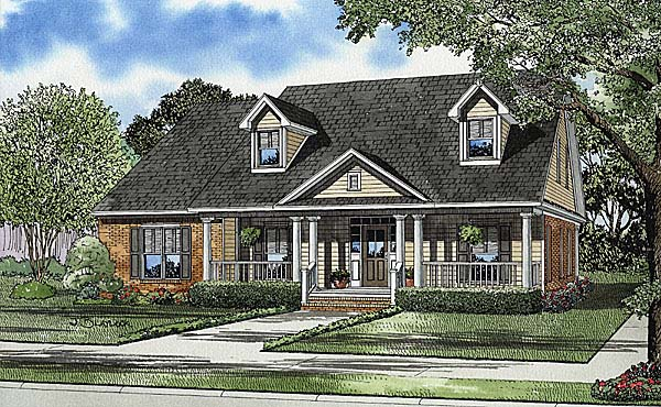 Cape Cod, Country, Southern House Plan 62104 with 4 Beds, 3 Baths, 2 Car Garage Elevation