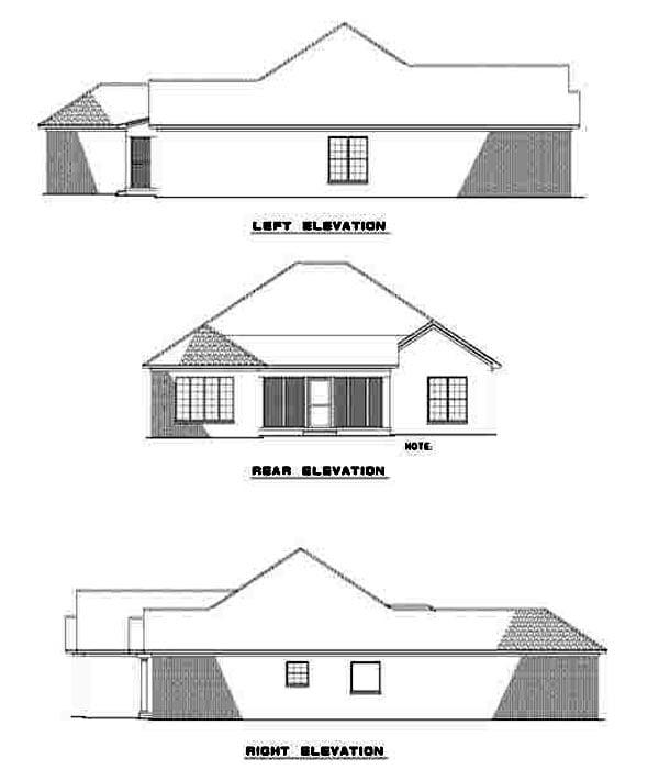 European Traditional House Plan 62110 Rear Elevation