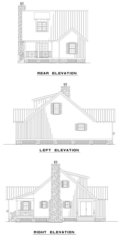 Cabin Country Southern House Plan 62114 Rear Elevation