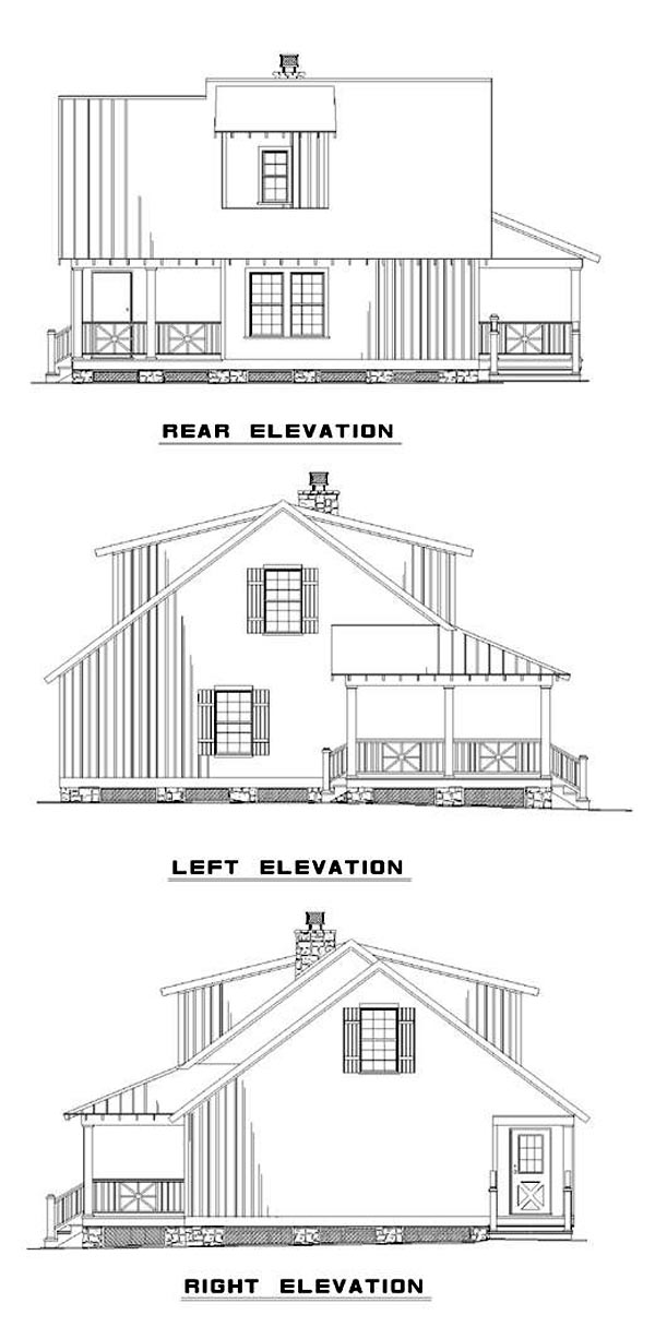 Cabin Country Southern House Plan 62117 Rear Elevation