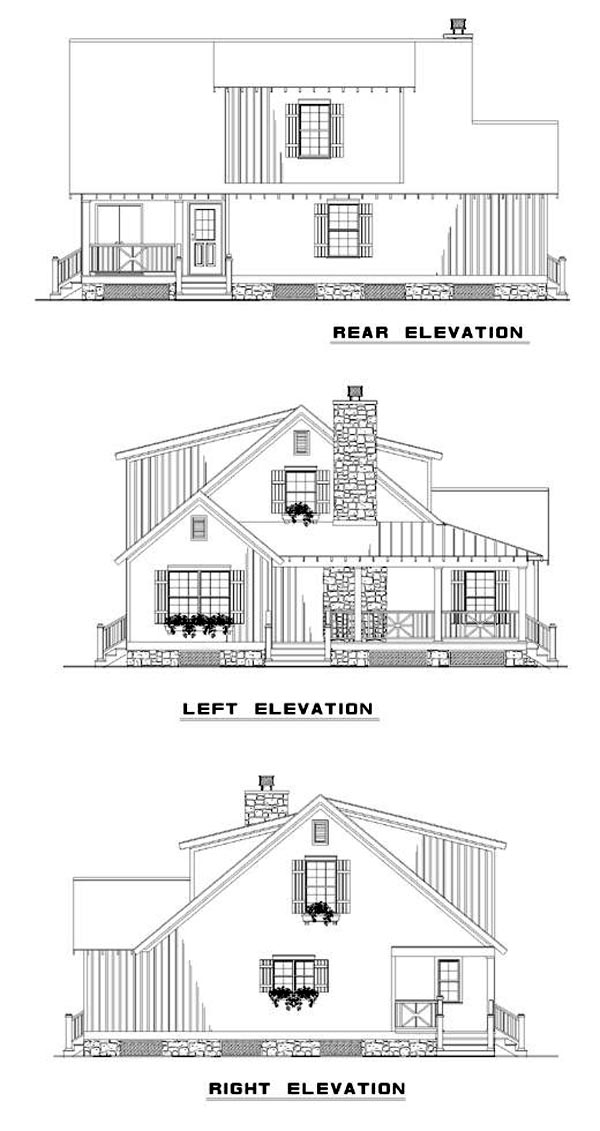 Bungalow Country Southern House Plan 62120 Rear Elevation