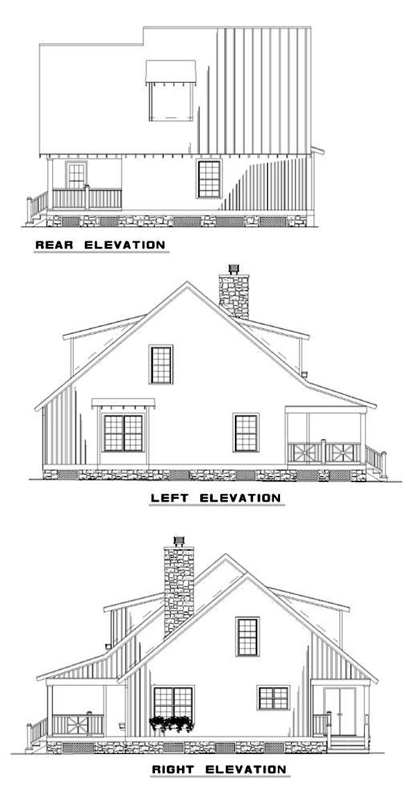 Bungalow Country Southern House Plan 62121 Rear Elevation