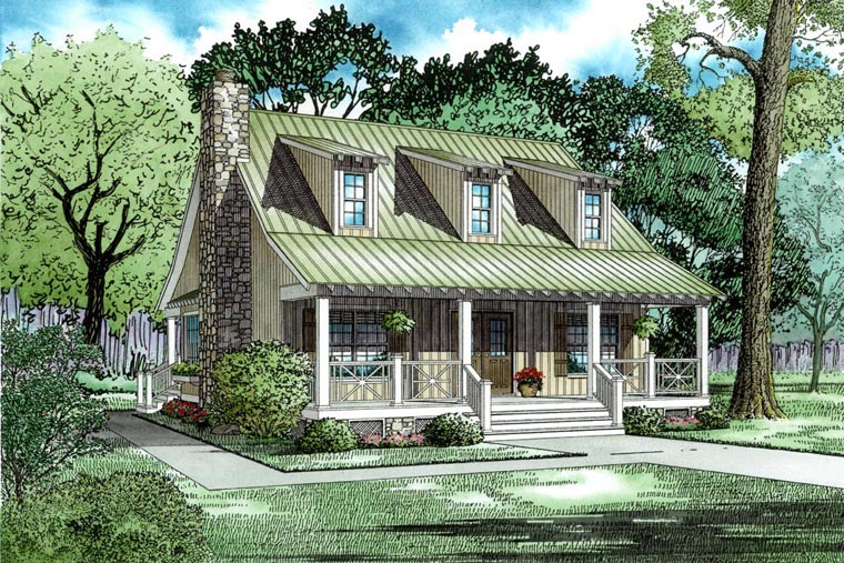 Cottage, Country, Southern House Plan 62122 with 3 Beds, 2 Baths Elevation