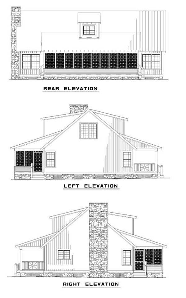 Bungalow Country Southern House Plan 62123 Rear Elevation