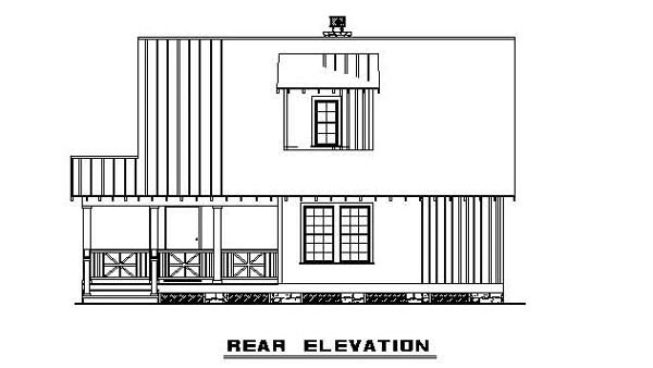 Bungalow Cabin Country Southern House Plan 62131 Rear Elevation