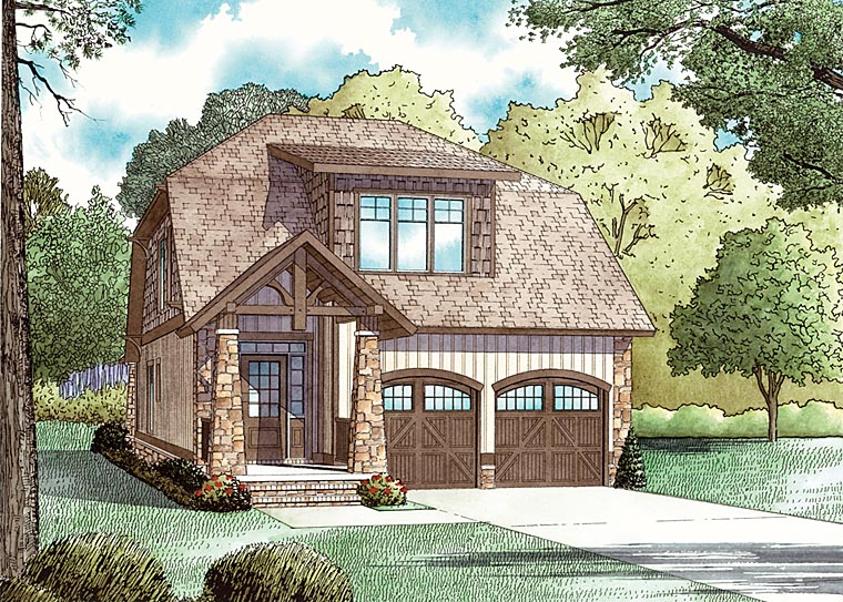 Bungalow, Country, Craftsman House Plan 62147 with 3 Beds, 3 Baths, 2 Car Garage Elevation