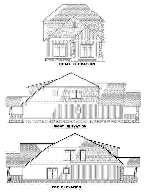 Bungalow, Country, Craftsman House Plan 62147 with 3 Beds, 3 Baths, 2 Car Garage Rear Elevation
