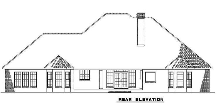 European Traditional House Plan 62169 Rear Elevation