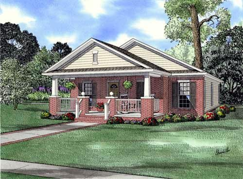 Bungalow, Narrow Lot, One-Story House Plan 62176 with 3 Beds, 2 Baths, 2 Car Garage Elevation