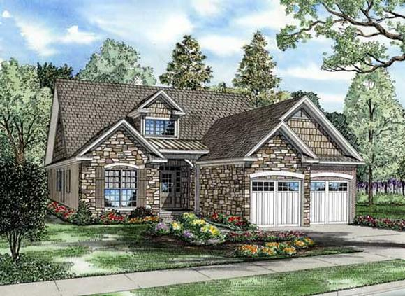 Bungalow, Traditional House Plan 62190 with 4 Beds, 3 Baths, 2 Car Garage Elevation