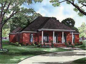 Colonial, Southern House Plan 62195 with 4 Beds, 3 Baths, 3 Car Garage Elevation