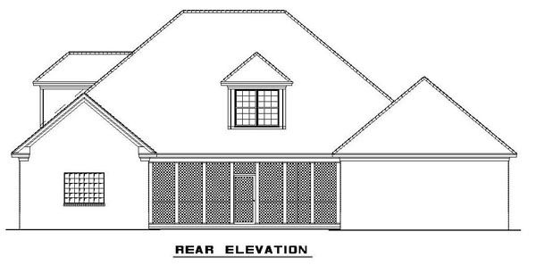 Colonial, Southern House Plan 62195 with 4 Beds, 3 Baths, 3 Car Garage Rear Elevation