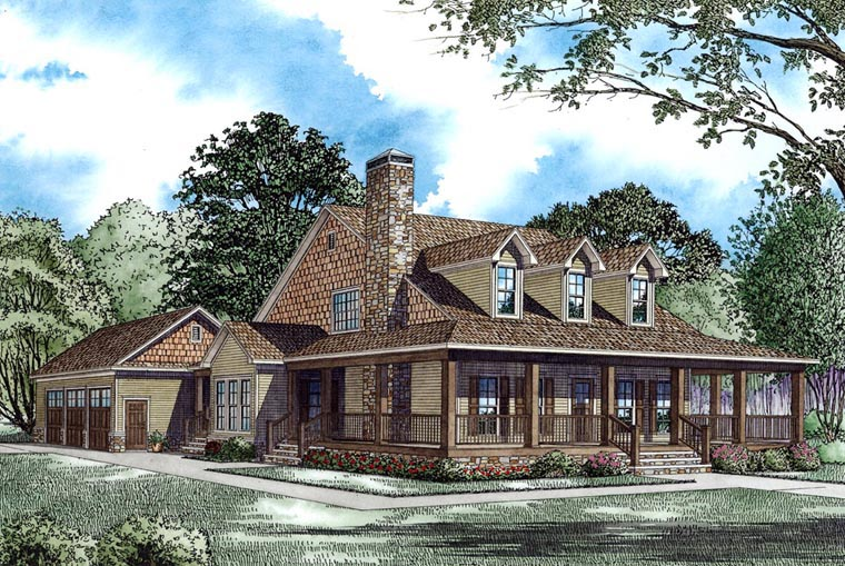 country farmhouse house plan 62207 elevation - Farmhouse Plans
