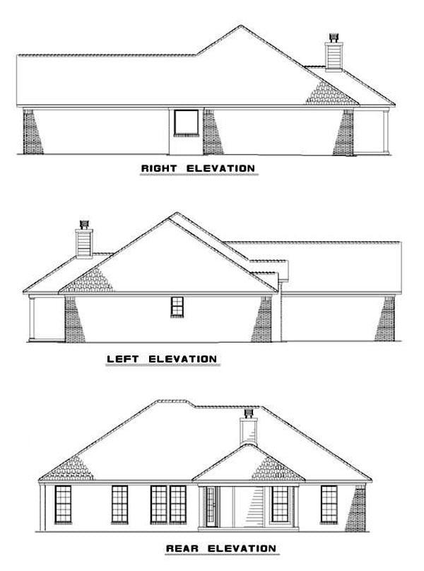 European Traditional House Plan 62219 Rear Elevation