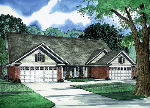 Multi-Family Plan 62236 with 6 Beds, 6 Baths, 4 Car Garage Elevation