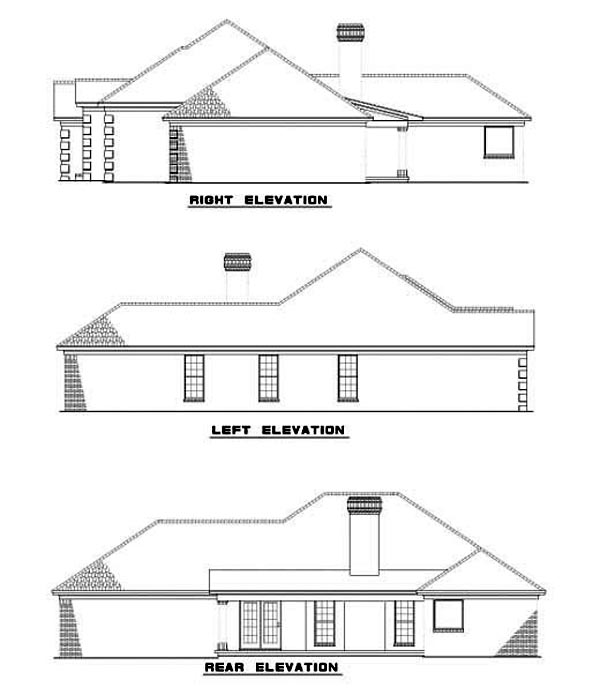 Rear Elevation of European   Ranch   Southwest   House Plan 62292