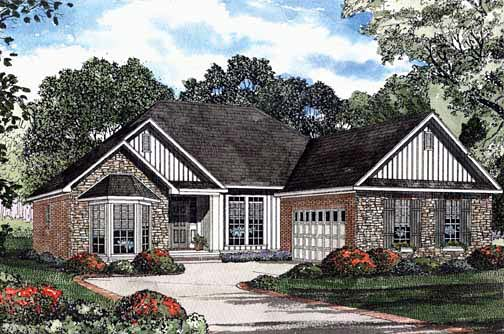 One-Story House Plan 62295 with 3 Beds, 2 Baths, 2 Car Garage Elevation