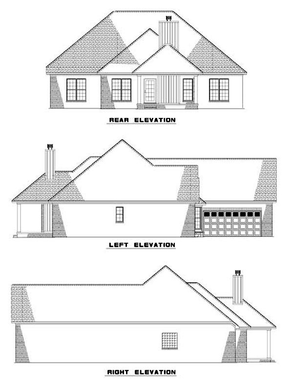 One-Story House Plan 62295 with 3 Beds, 2 Baths, 2 Car Garage Rear Elevation