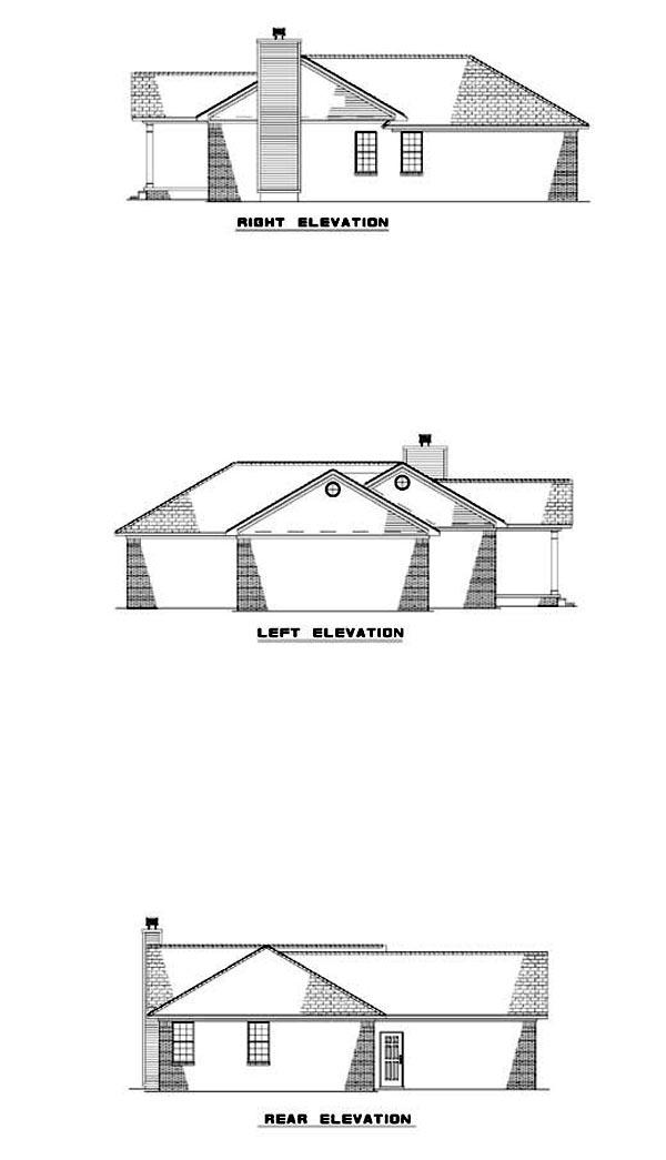One-Story House Plan 62303 with 2 Beds, 2 Baths, 2 Car Garage Rear Elevation