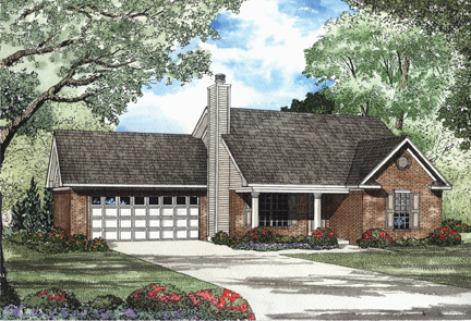 One-Story House Plan 62309 with 2 Beds, 2 Baths, 2 Car Garage Elevation