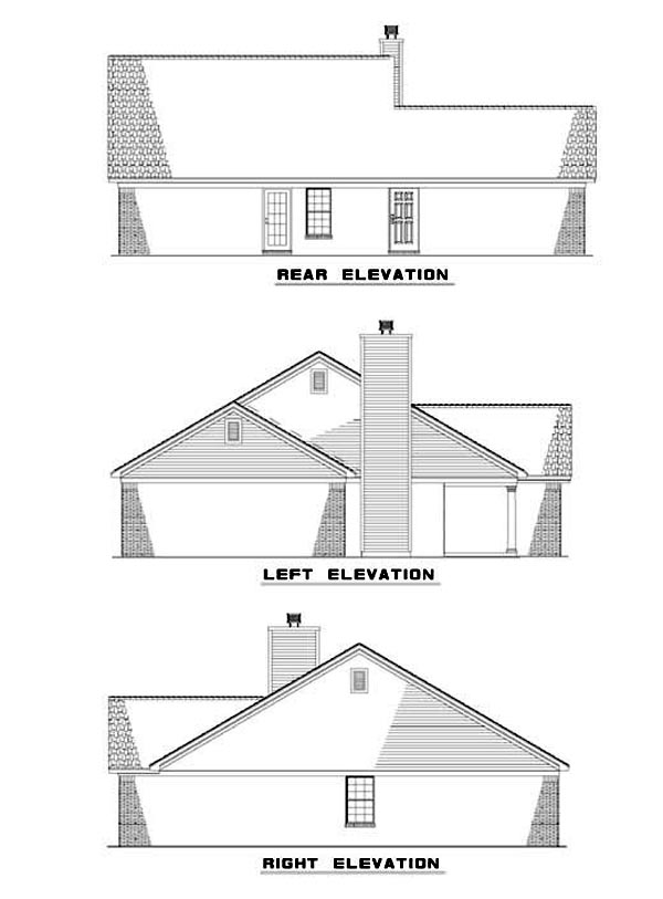 One-Story House Plan 62309 with 2 Beds, 2 Baths, 2 Car Garage Rear Elevation