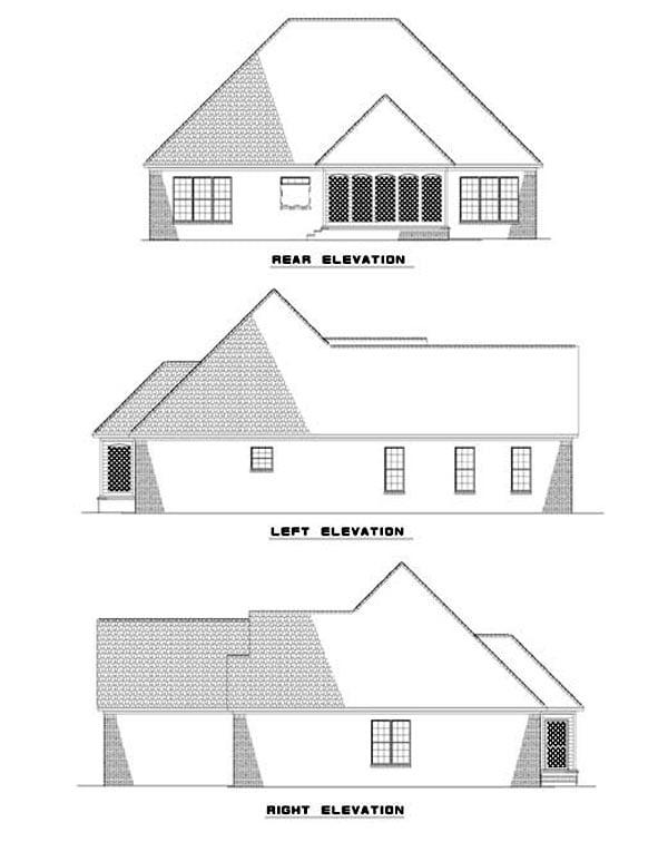 European Traditional House Plan 62321 Rear Elevation