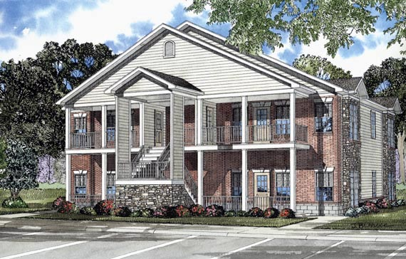 Southern Traditional Multi-Family Plan 62322 Elevation