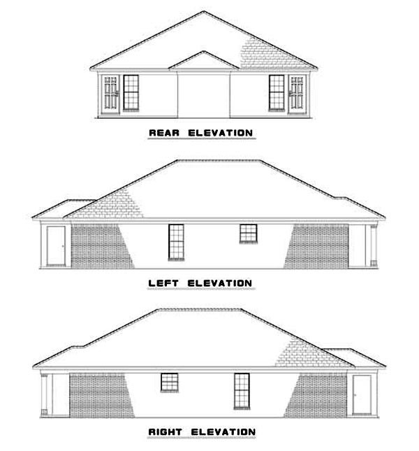 Rear Elevation of Multi-Family Plan 62334