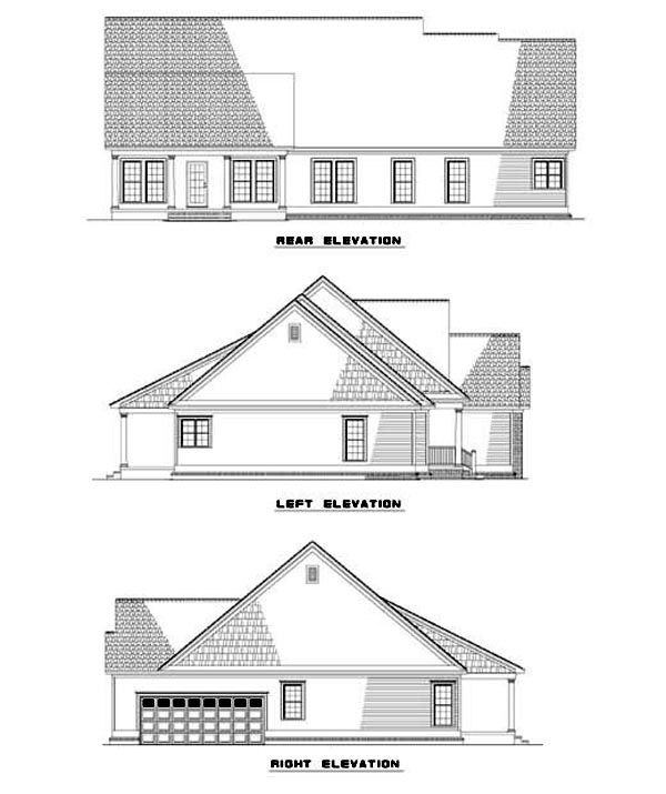 Rear Elevation of House Plan 62341