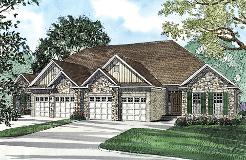 Multi-Family Plan 62349 Elevation